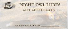 Night Owl Lures Gift Certificate